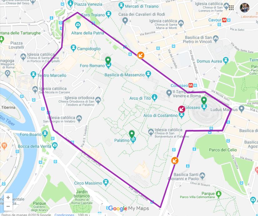 Mapa para visitar el Foro Romano